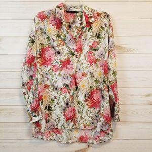 Zara floral long sleeve blouse top size xs